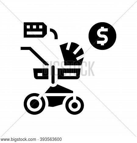 Stroller Rental Glyph Icon Vector. Stroller Rental Sign. Isolated Contour Symbol Black Illustration