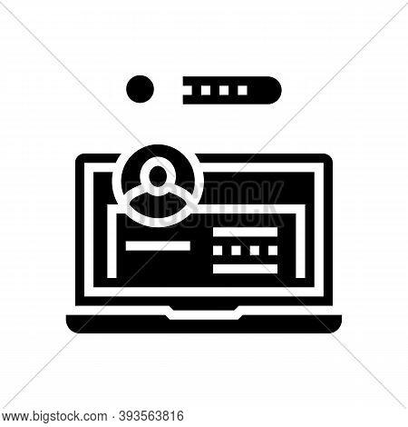 User Entry Laptop Password Glyph Icon Vector. User Entry Laptop Password Sign. Isolated Contour Symb