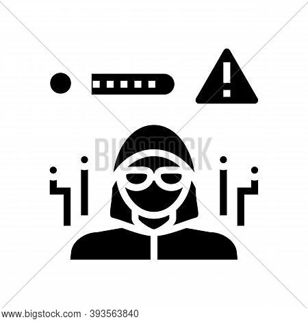 Hacker Hacked Password Glyph Icon Vector. Hacker Hacked Password Sign. Isolated Contour Symbol Black