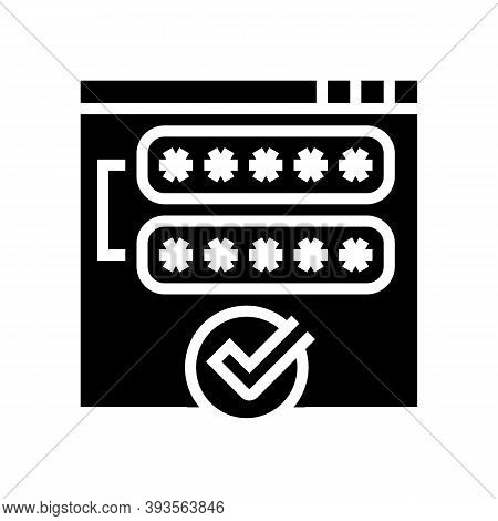 Access Password Accepted Glyph Icon Vector. Access Password Accepted Sign. Isolated Contour Symbol B
