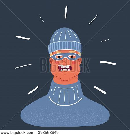 Vector Illustration Of Male Outlaw Person. Man Wear In Beanie Hat And Mask On Dark Background.