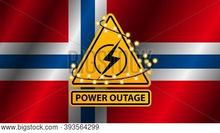 Power Outage, Yellow Warning Sign Wrapped With Garland On The Background Of The Flag Of Norway