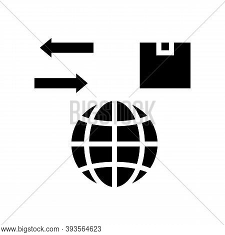 World Import And Export Glyph Icon Vector. World Import And Export Sign. Isolated Contour Symbol Bla