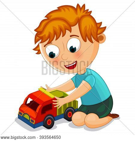 Little Boy Playing With Toy Truck Vector Illustration