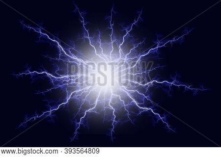 Powerful Electrical Discharge Hitting From The Center Realistic Illustration Isolated On Black Trans