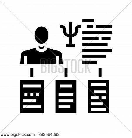 Worker Different Traits Glyph Icon Vector. Worker Different Traits Sign. Isolated Contour Symbol Bla