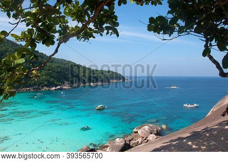 Boats On The Beach Of The Similan Islands In The Andaman Sea. Landscape, Asia, Travel. February 4, 2