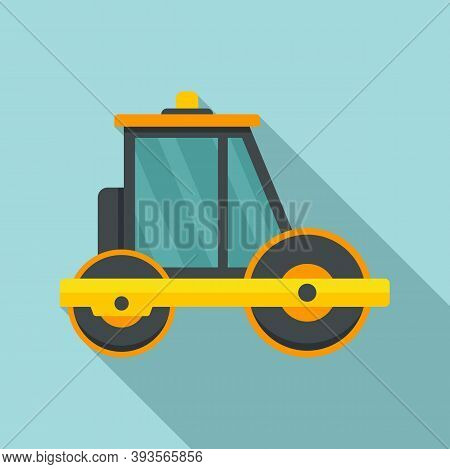Builder Road Roller Icon. Flat Illustration Of Builder Road Roller Vector Icon For Web Design