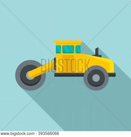 Asphalt Road Roller Icon. Flat Illustration Of Asphalt Road Roller Vector Icon For Web Design