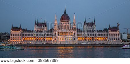 Budapest, Hungary - March 27, 2018: Hungarian Parliament building and Danube River in the Budapest city at night