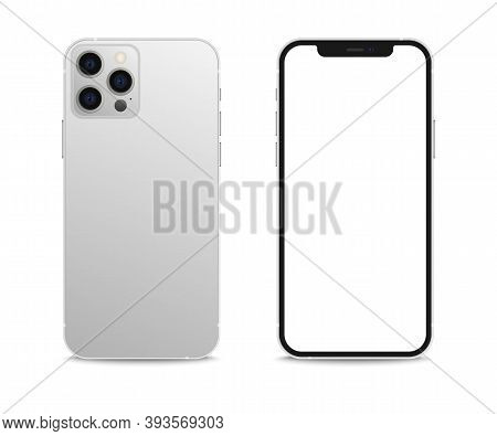 Uzbekistan, Tashkent - November 7, 2020: Grey Iphone 12 Pro Mockup, Smartphone Mock Up With White Sc