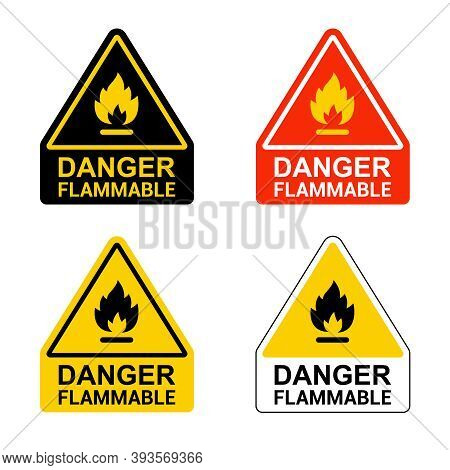 Set Of Stickers Caution Flammable. Flat Vector Illustration Isolated On White Background.