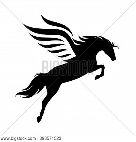 Winged Pegasus Horse Black And White Vector Outline - Flying Mythical Stallion Detailed Silhouette