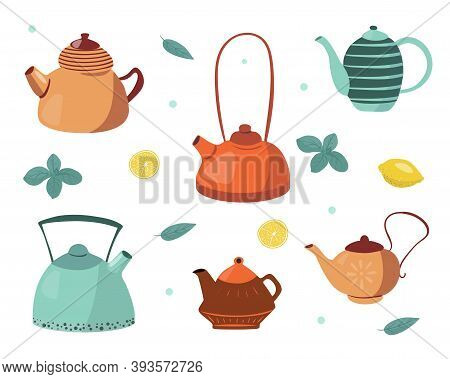 Vector Collection Of Teapots Isolated On A White Background. Ceramic Teapot, Kettle, Kitchen Tools.