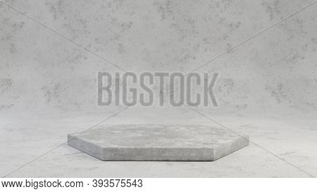 Concrete Pedestal Isolated On Grey Cement Background. 3d Rendered Minimalistic Abstract Background C