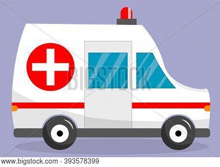 Ambulance Car On Background. Ambulance Auto Paramedic Emergency. Ambulance Vehicle Medical Evacuatio