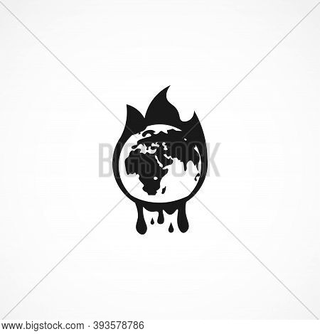 Global Warming Icon. Isolated Vector Element. Burning Earth Icon