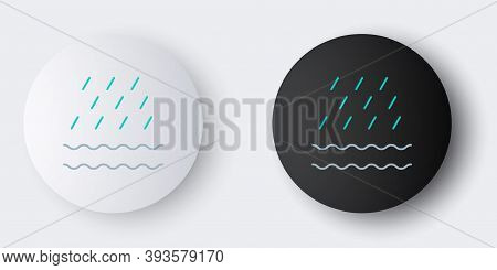 Line Rain And Waves Icon Isolated On Grey Background. Rain Cloud Precipitation With Rain Drops. Colo