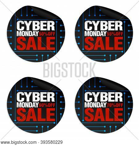 Cyber Monday Sale Stickers Set 50%, 55%, 60%, 70% Off. Vector Illustration