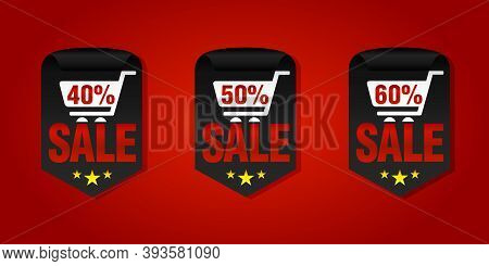 Set Of Sale Badges 40%, 50%, 60% Off With Shopping Cart. Vector Illustration