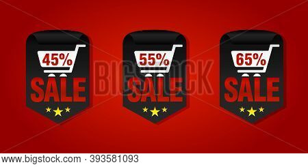 Set Of Sale Badges 45%, 55%, 65% Off With Shopping Cart. Vector Illustration