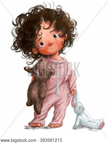 Cute Little Watercolor Girl With Hare Toy In Pink Pajamas