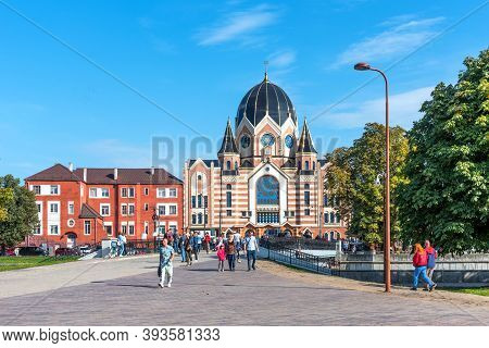 Kaliningrad, Russia - September 28, 2020: New Synagogue On The Embankment In Kaliningrad. Renovated