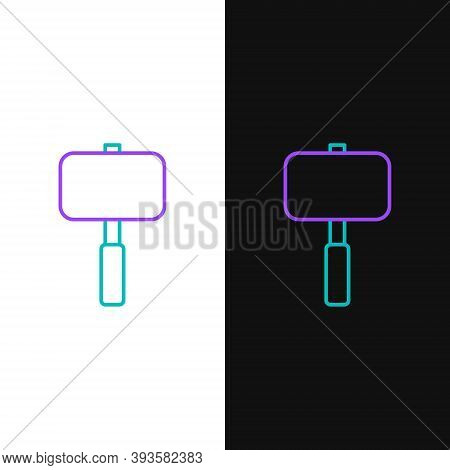 Line Sledgehammer Icon Isolated On White And Black Background. Colorful Outline Concept. Vector