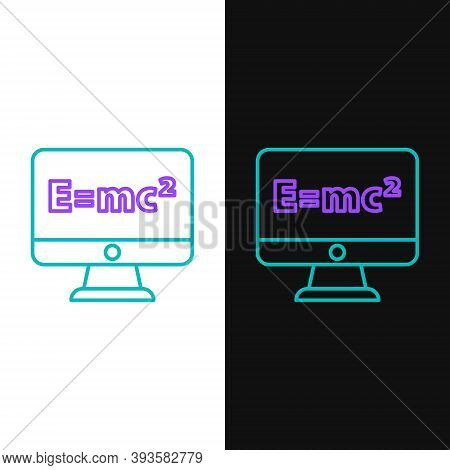 Line Math System Of Equation Solution On Computer Monitor Icon Isolated On White And Black Backgroun