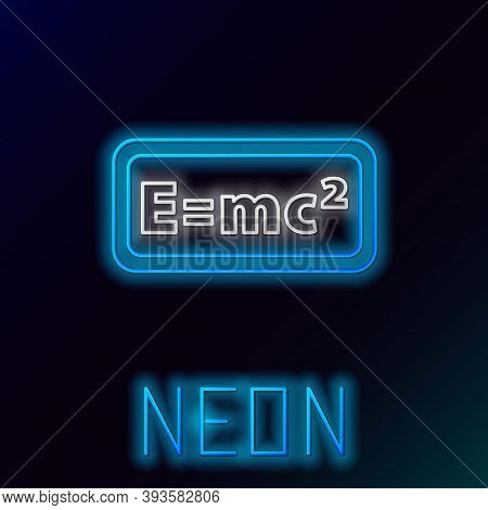 Glowing Neon Line Math System Of Equation Solution Icon Isolated On Black Background. E Equals Mc Sq