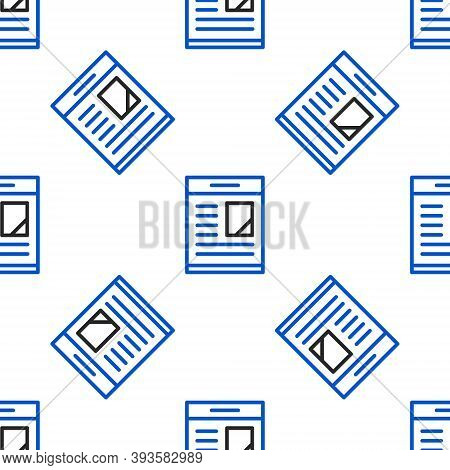 Line Newspaper Advertisement Displaying Obituaries Icon Isolated Seamless Pattern On White Backgroun