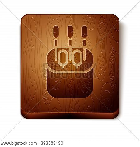 Brown Cotton Swab For Ears Icon Isolated On White Background. Wooden Square Button. Vector Illustrat