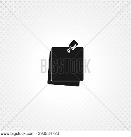 Note Paper With Pushbutton Icon On White Background