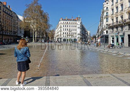 Lyon, France, March 31, 2019 : Place De La Republique. This Place Was Created In The Dense Urban Web