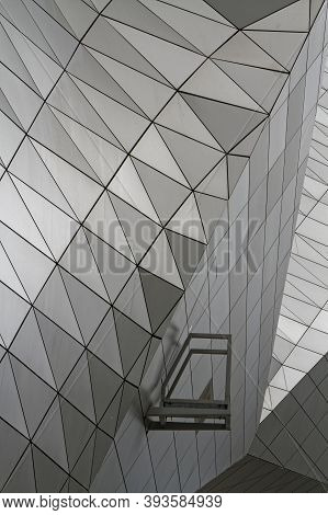Lyon, France, May 25, 2019 : An Architectural Detail Of Modern Confluence Museum. Set In The Heart O