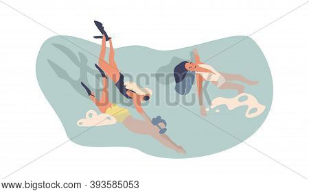 Cartoon Swimming Character. Cute Young People In Pool Or Sea Water, Man And Woman Diving In Goggles.