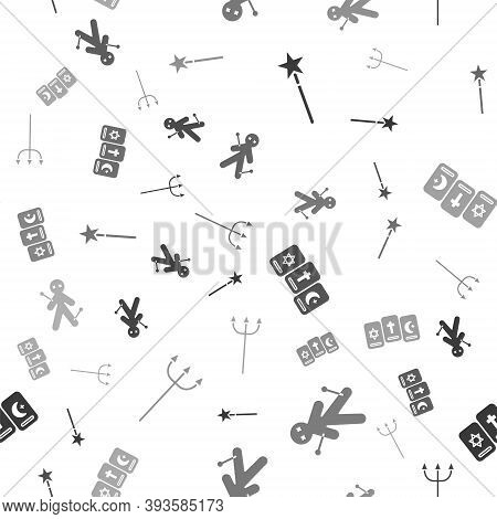 Set Magic Wand, Voodoo Doll, Three Tarot Cards And Neptune Trident On Seamless Pattern. Vector