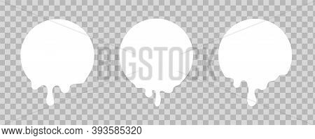 Melted White Sticker. Circles With Drips Of Paint On Transparent Background. Round Badges Design Moc