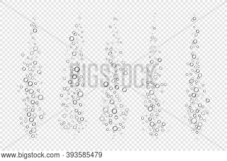 Fizzing Air Bubbles. Realistic Underwater Flow On Transparent Background. 3d Effect Of Breathing Gas