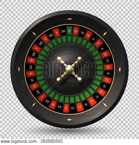 Roulette Wheel. 3d Realistic Casino Spin On Transparent Background. Gambling Equipment, Spin Circle