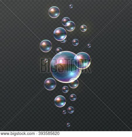 Soap Bubble. Realistic Colorful Shampoo Ball, Iridescent Colorful Cloud Of Big And Little Soapy Roun