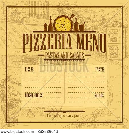Pizzeria menu list mockup with copy space for text, retro style, raster version