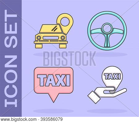 Set Hand On Map Pointer With Taxi, Map Pointer With Taxi, Map Pointer With Taxi And Steering Wheel I
