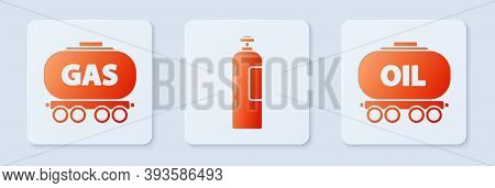 Set Industrial Gas Cylinder Tank, Gas Railway Cistern And Oil Railway Cistern. White Square Button.
