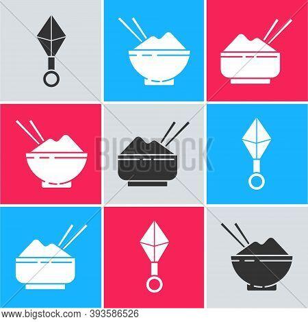 Set Japanese Ninja Shuriken, Rice In A Bowl With Chopstick And Rice In A Bowl With Chopstick Icon. V