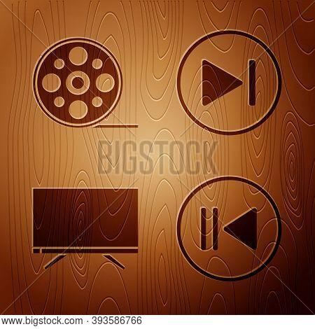 Set Rewind, Film Reel, Smart Tv And Fast Forward On Wooden Background. Vector
