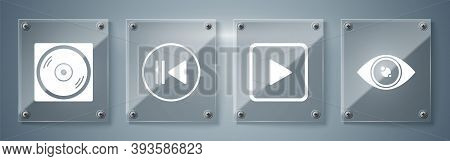 Set Eye, Play In Square, Rewind And Vinyl Disk. Square Glass Panels. Vector