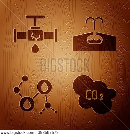 Set Co2 Emissions In Cloud, Broken Pipe With Leaking Water, Molecule Oil And Oilfield On Wooden Back