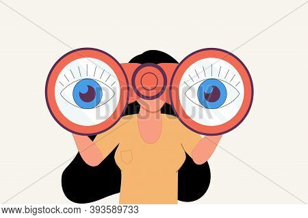 The Woman Looks Through Her Large Binoculars, Looking For Something. The Girl Is Watching Someone Cl