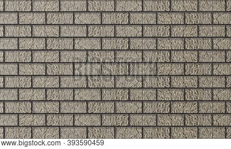 Brick Brown Masonry. Background Of Evenly Laid Bricks. Template For Text And Design. Concrete Textur
